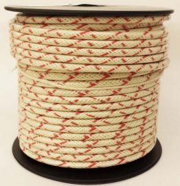 14ga, OVERSTOCK, Lacquer Coated Cloth Braided Wire, White / Red Cross Tracer