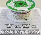 16ga, OVERSTOCK, Lacquer Coated Cloth Braided Wire, Off-White / Green X Tracer